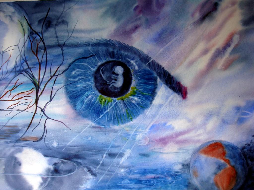 Aquarelle : REGARD SUR LA VIE (50x60)