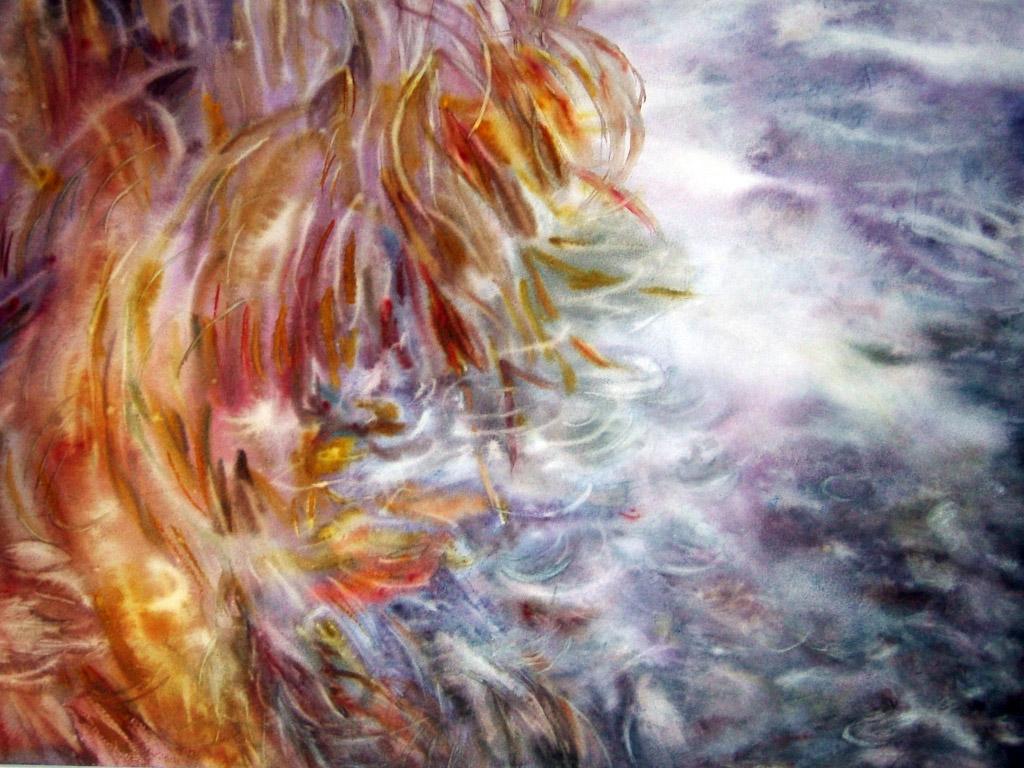 Tableau aquarelle torrent 40 x 60 - Systeme pour accrocher des tableaux ...